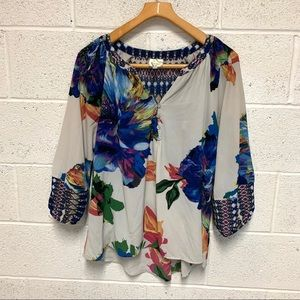 Fig and Flower L floral blouse 1/2 sleeve TB 76